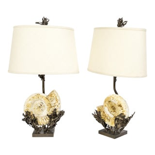 Fossilized Nautilus & Bronze Laurasia Table Lamp by Tuell + Reynolds (2 Available) For Sale