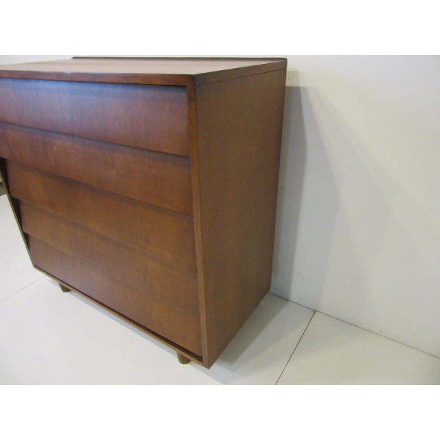 Mid-Century Modern Mid Century Walnut Slanted Front 5 Drawer Dresser For Sale - Image 3 of 9
