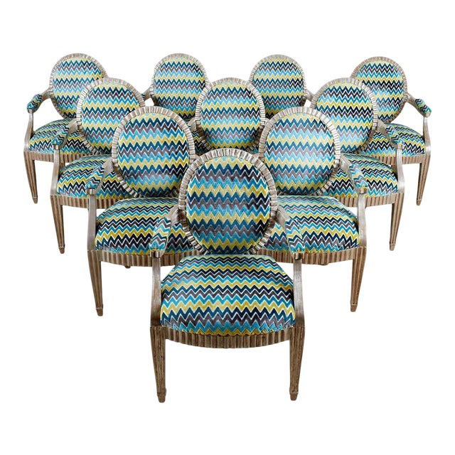 Late 20th Century John Hutton for Donghia Silvered Dining Chairs - Set of 10 For Sale
