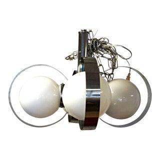 Mid-Century Modern White Glass Ball & Chrome Ring Chandelier For Sale
