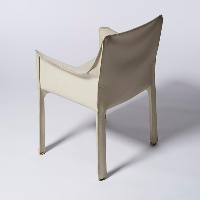 Contemporary Mario Bellini for Cassina White Leather Cab Dining Arm Chairs - a Pairing For Sale - Image 3 of 8