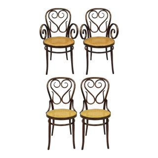 Michael Thonet Bentwood Round Cane Seat Cafe Bistro Dining Chairs - Set of 4 For Sale