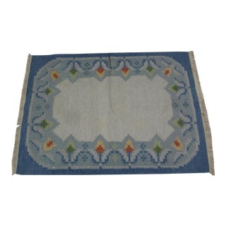 "Swedish Flat Weave Rug - 4'8"" X 6'6"" For Sale"