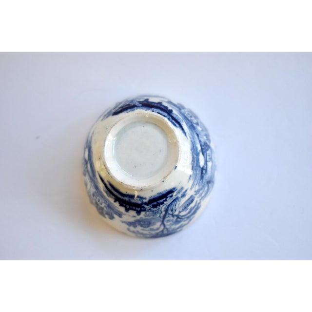 Antique Georgian C. 1815 Staffordshire Blue Transferware Tea Bowl For Sale - Image 9 of 10