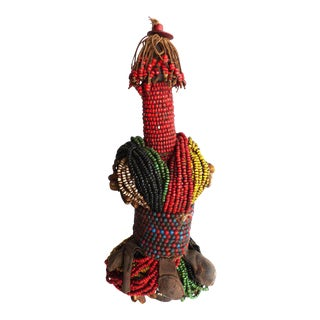 20th Century African Beaded Fali Fertility Doll from Cameroon For Sale