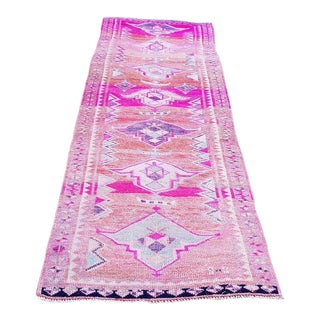 1960s Distressed Handmade Turkish Oushak Pink Runner- 2′11″ × 9′10″ For Sale
