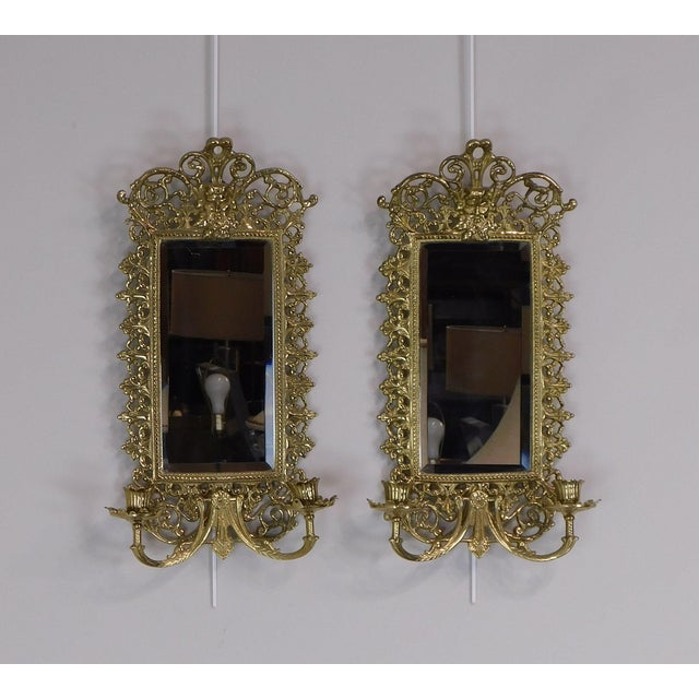 High Quality Ornate Brass Mirrored Wall Sconces Baroque Style. Signed Virginia Metalcrafters