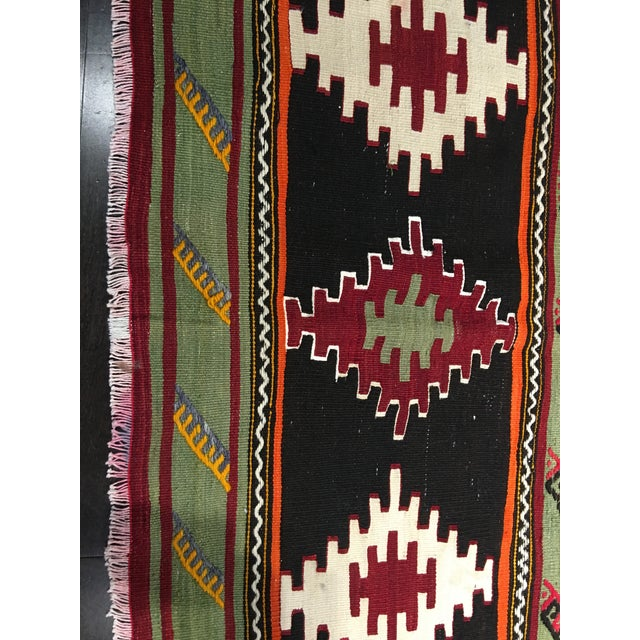 "Vintage Turkish Kilim Patterned Rug - 6'2""x11'3"" - Image 8 of 9"