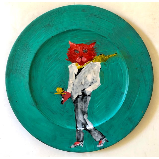 Illustration Stylish Cat Painting on Wood Platter For Sale - Image 3 of 3