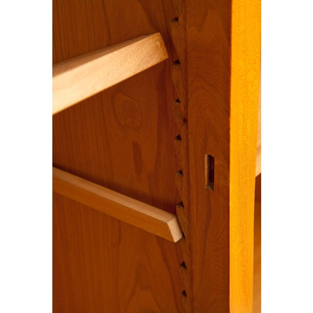 1950s Large Cherrywood and Leather Cabinet by Jacques Adnet For Sale - Image 9 of 13