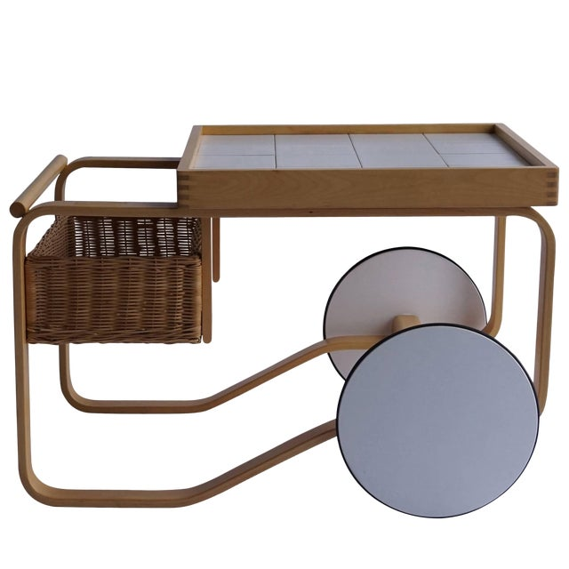 Mid Century Modern Alvar Aalto Tea Cart For Sale