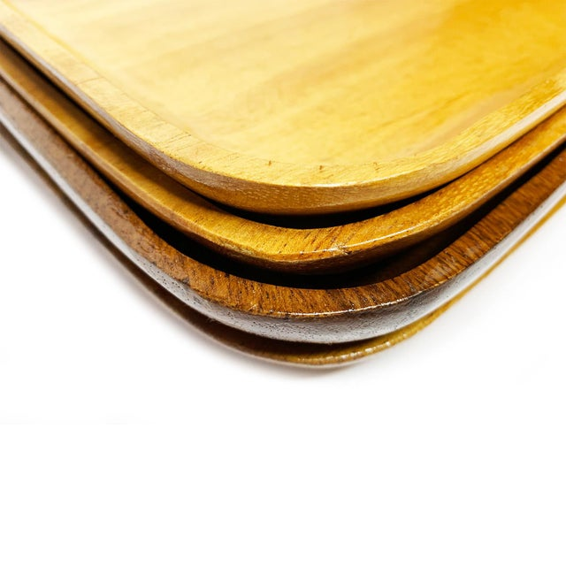 Mid-Century Modern 1940s Large Mid Century Modern Wood Plates - Set of 4 For Sale - Image 3 of 4