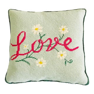 Vintage Love Needlepoint Pillow For Sale