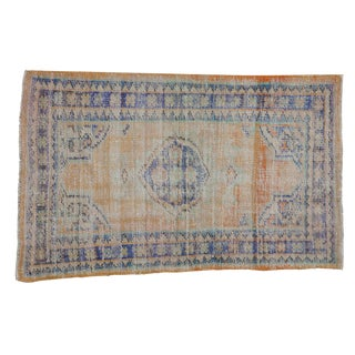 "Vintage Distressed Oushak Rug - 3' X 4'7"" For Sale"
