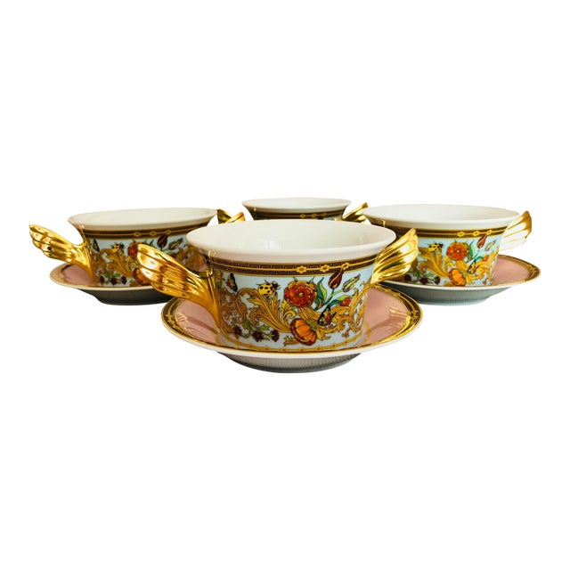 Italian Rosenthal Versace Butterfly Garden Soup Cups and Saucers - 8 Pieces For Sale