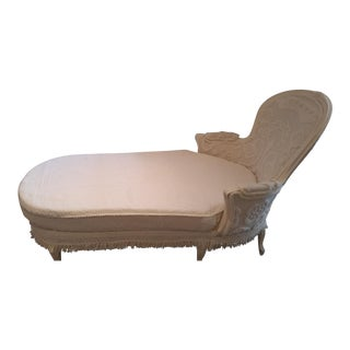 Early 20th Century Vintage French White Chenille Chaise Lounge For Sale
