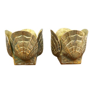 1980s Vintage Brass Sea Shell Planters - A Pair
