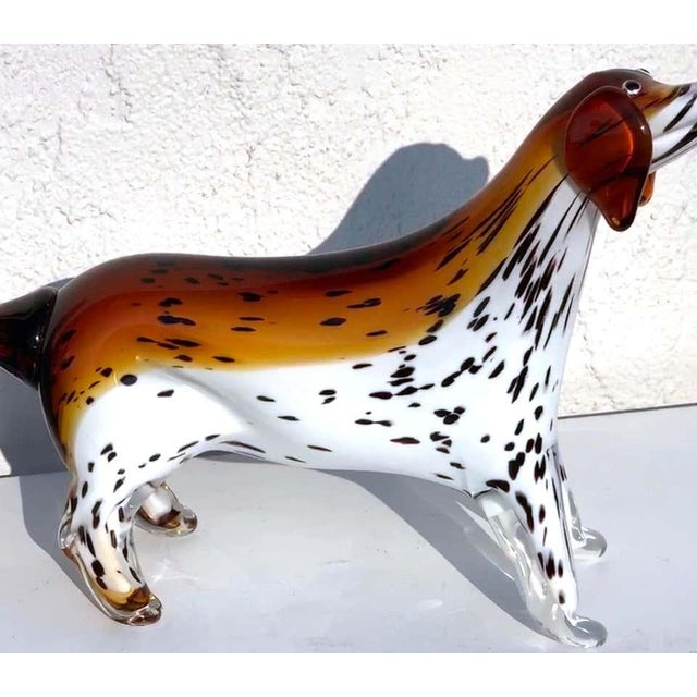 """Murano glass figure of an spotted dog, superb detail and size, retains paper label """"Cristalleria Stile D'Arte"""" Murano."""