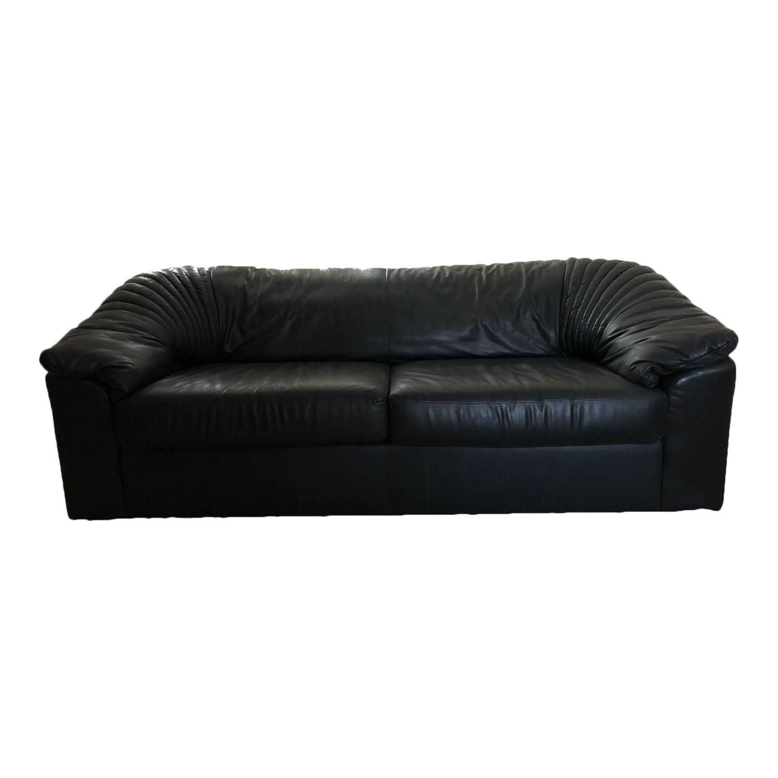 Transitional 1990s Vintage Roche Bobois Black Leather Sofa Chairish