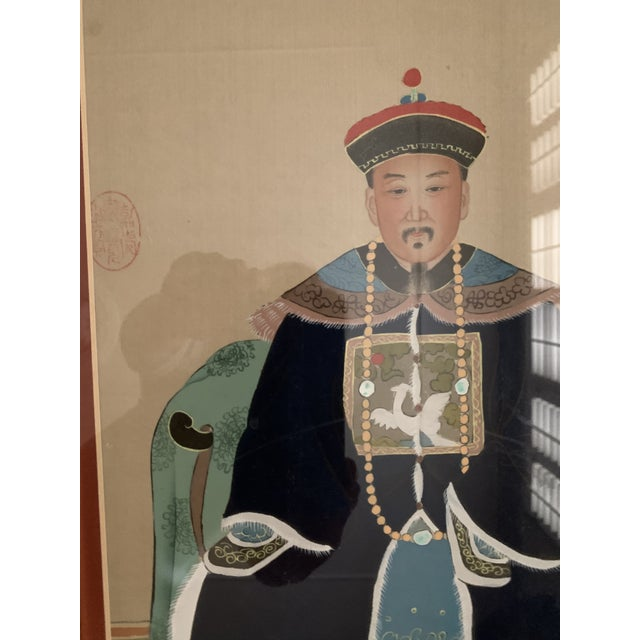 Chinese Ancestral Portraits Early 20th Century Paintings on Paper - a Pair For Sale - Image 4 of 9