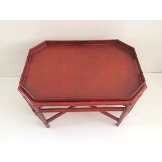1980s Boho Chic Red Rattan Tray Coffee Table Preview