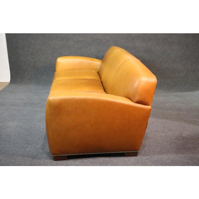 Art Deco Ralph Lauren Art Deco Style Leather Sofa For Sale - Image 3 of 11