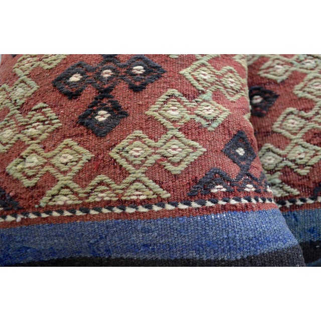 Vintage Turkish Kilim Pillow Covers - A Pair - Image 5 of 5