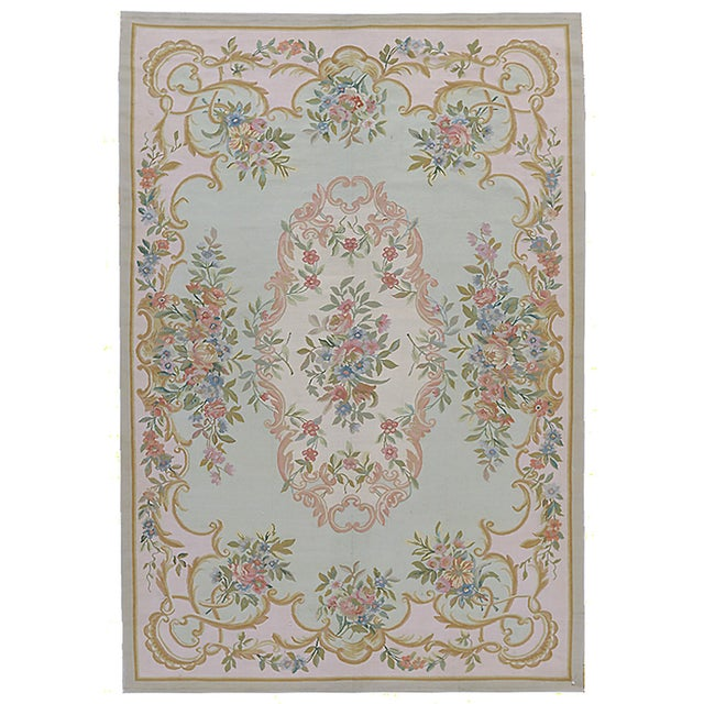"Contemporary Pasargad Aubusson Hand Woven Wool Rug - 6'1"" x 8'11"" For Sale - Image 3 of 3"