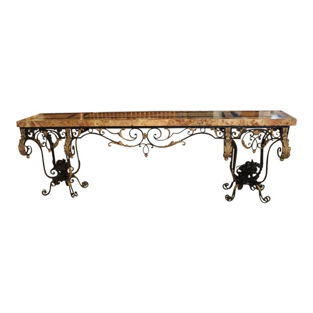 1920's French Forged Iron and Marble Console Table For Sale