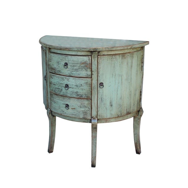 Asian Chinese Distressed Gray Celadon Color Wood Craw Legs Half Table For Sale - Image 3 of 8