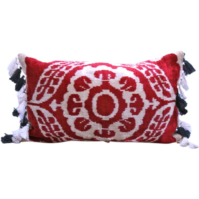 Velvet Ikat Pillow with Uzbek Tassels - Image 1 of 3