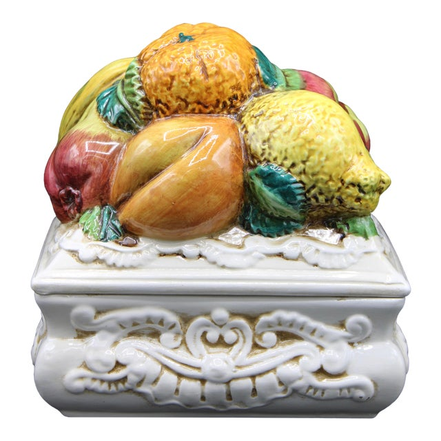 Italian Ceramic Fruit Lidded Box For Sale