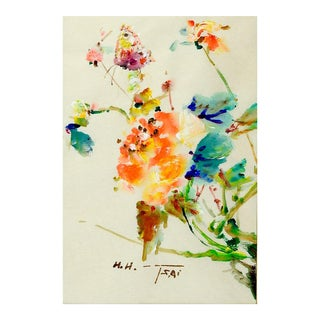1960s Butterfly & Flowers Painting by H. H. Tsai