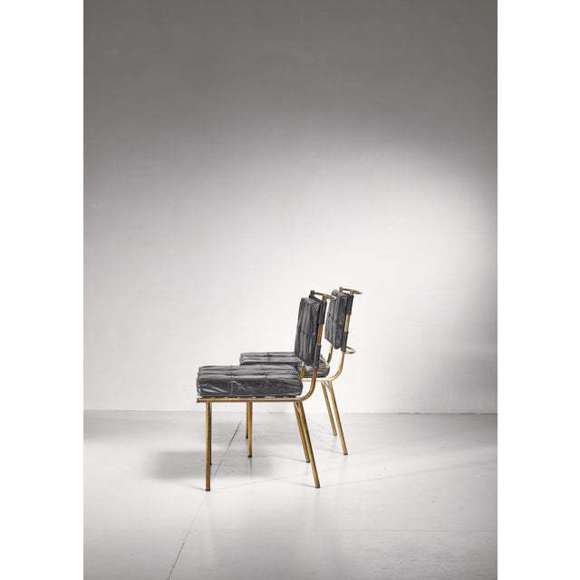 Animal Skin Mathieu Mategot Rare Pair of Brass and Leather Chairs, France For Sale - Image 7 of 8