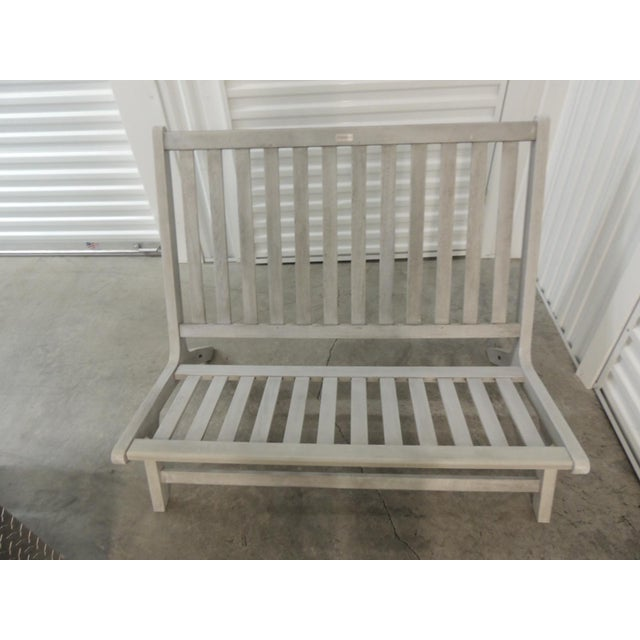Outdoor Safavieh Weathered Finish Settee. Weathered color teak painted gray. Seat and back cushions (Need new covers.)...
