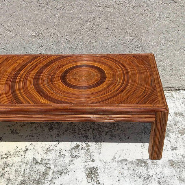 Crespi Style Split Bamboo Long Coffee Table For Sale - Image 4 of 11