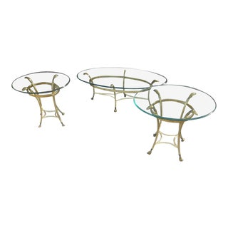 Brass and Glass Coffee Table & Side Table Living Room Set- Set of 3 For Sale