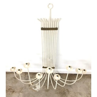 Mid-Century Modern White Painted Wrought Iron & Brass Wall Candelabra Preview