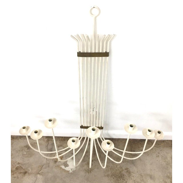 Very large mid century modern white painted wrought iron and brass wall candelabra or sconce circa 1960s in the style of...