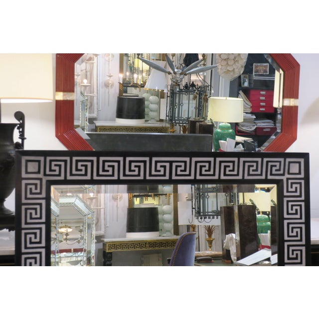 Early 21st Century Bespoke Hand-Decorated Greek Key Pattern Mirrors - a Pair For Sale - Image 5 of 7
