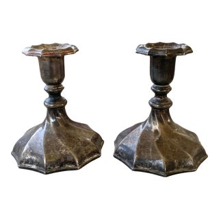 Pair of Silver Plate Candle Sticks For Sale