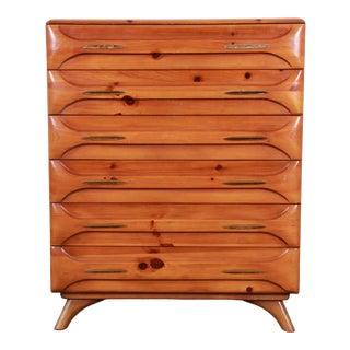 Franklin Shockey Rustic Modern Sculptured Pine Highboy Dresser, 1950s For Sale