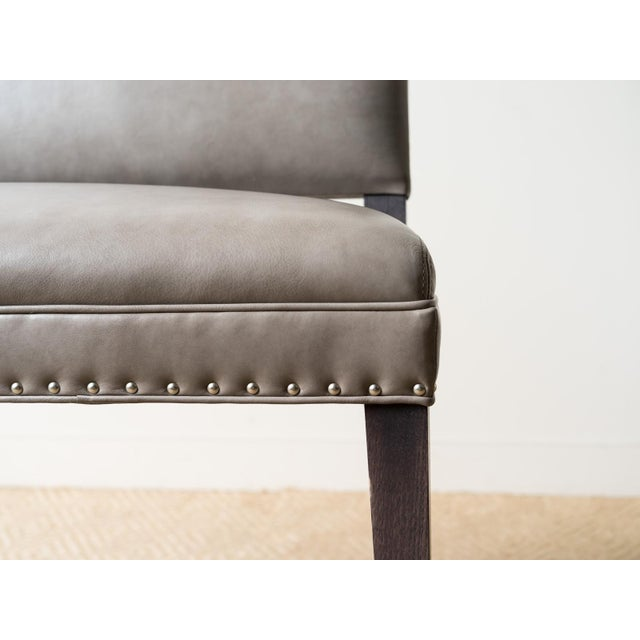 Modern Two Person Leather Bar Bench For Sale - Image 3 of 6