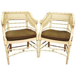 Pair of Mid Century Curved Back Bamboo Arm Chairs Removable Cushion For Sale