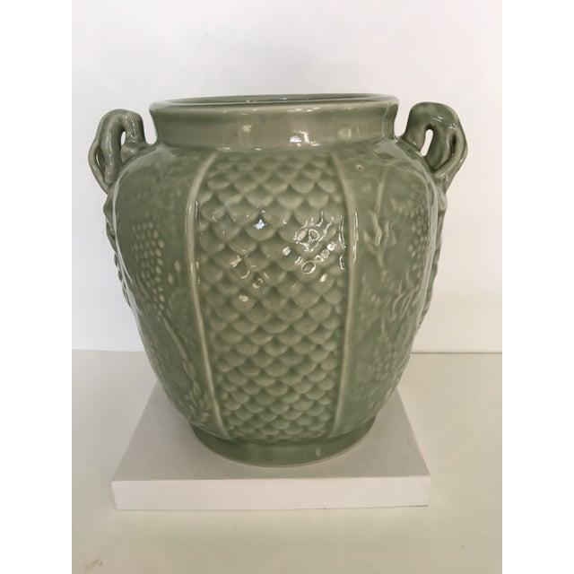 Celadon Vintage Two Handled Celadon Ginger Jar/Urn For Sale - Image 8 of 9