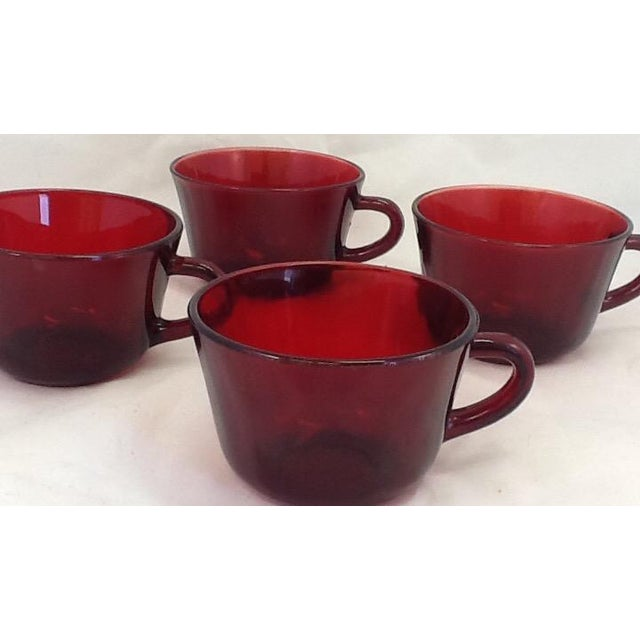 Mid-Century Modern Vintage Cranberry Glass Cups - Set of 4 For Sale - Image 3 of 6