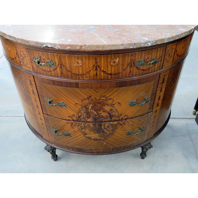 20th Century EnglishTtraditional Adams Style Marble Top Demilune For Sale - Image 4 of 9