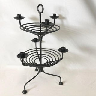 Vintage Wrought Iron Tiered Six Candles Candelabra Preview