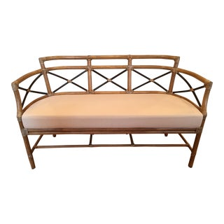 McGuire Bamboo Rattan Loveseat For Sale