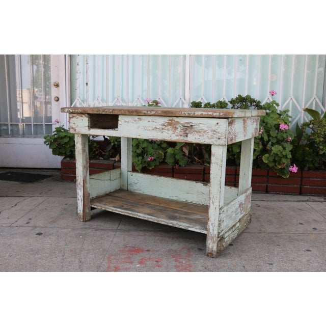 Wood 1950s Rustic Distressed Farm Table For Sale - Image 7 of 10